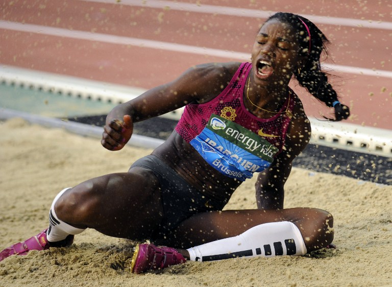 Colombia's Caterine Ibarguen competes during the Triple Jump event of the Memorial Van Damme athletics Diamond League meeting in Brussels, on September 5, 2014.  AFP PHOTO/ JOHN THYS