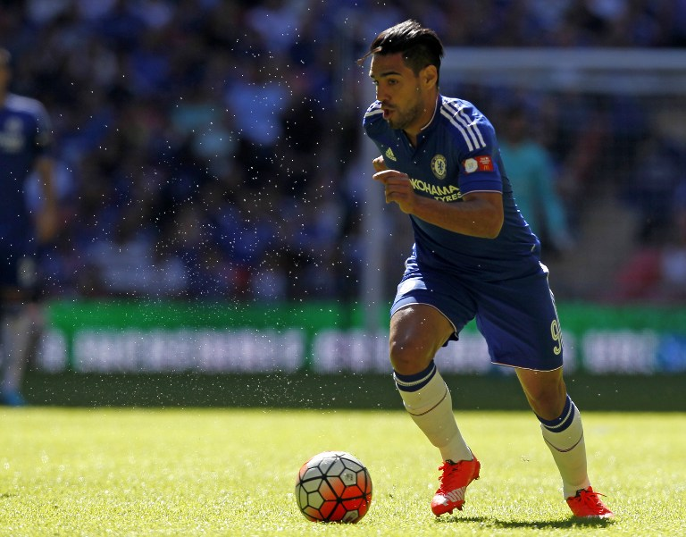 Chelsea's Colombian striker Radamel Falcao runs with the ball during the FA Community Shield football match between Arsenal and Chelsea at Wembley Stadium in north London on August 2, 2015. AFP PHOTO / IAN KINGTON  -- NOT FOR MARKETING OR ADVERTISING USE / RESTRICTED TO EDITORIAL USE --