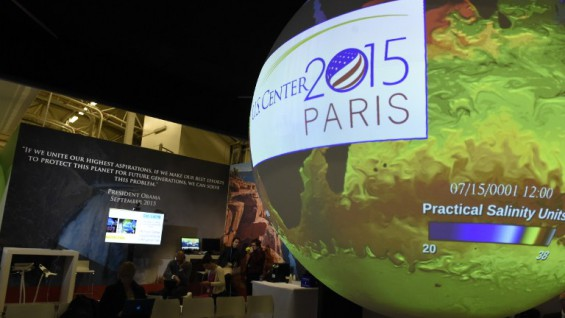 "A picture shows a sphere with an projection on it at the US stand on the opening day   of the COP 21 United Nations conference on climate change, on November 30, 2015 in Le Bourget, on the outskirts of the French capital Paris. More than 150 world leaders are meeting under heightened security, for the 21st Session of the Conference of the Parties to the United Nations Framework Convention on Climate Change (COP21/CMP11), also known as ""Paris 2015"" from November 30 to December 11. AFP PHOTO / ALAIN JOCARD / AFP / ALAIN JOCARD"
