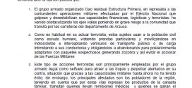 Por medio de un comunicado Ejercito Nacional responsabilizó al Grupo Gao Residual por obstaculizar algunas vías de Arauca.